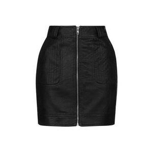 Topshop Stitch Detail Faux Leather Miniskirt